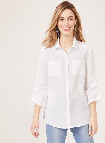 Eyelet Embroidery Linen Blouse, White, hi-res