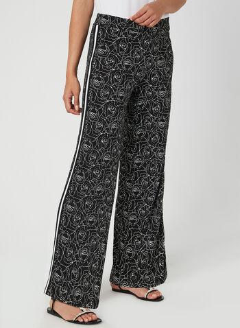 Pantalon fleuri à jambe large , Noir, hi-res