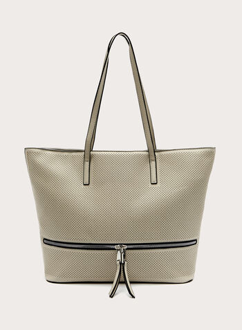 Faux Leather Tote Bag , Grey, hi-res