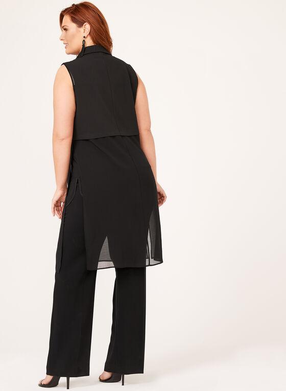 Picadilly - Veste longue sans manches en mousseline, Noir, hi-res