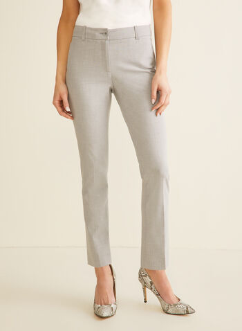 Modern Fit Straight Leg Pants , Grey,  Spring 2020, pants, modern fit, straight legs, faux pockets, pleats