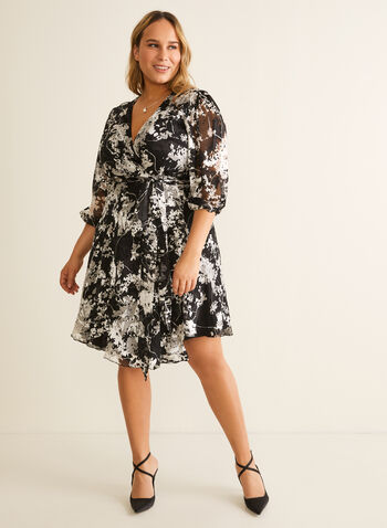Abstract Print Cocktail Dress, Black,  cocktail dress, abstract, tie belt, wrap, chiffon, silk, v-neck, balloon sleeves, 3/4 sleeves, spring summer 2020