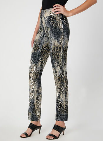 Snakeskin Print City Fit Pants, Brown, hi-res,  snakeskin, animal print, slim leg, stretchy, bengaline, fall 2019, winter 2019