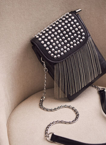 Fringe Cross Body Cellphone Bag, Black,  Spring summer 2021, accessories, accessory, chain, link, links, studded, fringe, cell phone, mobile embosses, faux leather, flaps, magnet closure