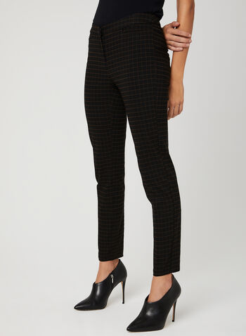 Modern Fit Grid Print Pants, Black, hi-res