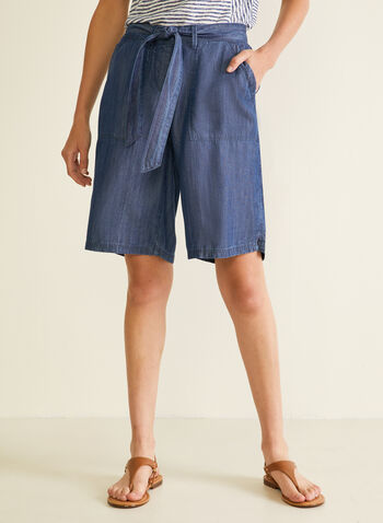 Denim-Style Belted Shorts, Blue,  shorts, belt, denim, cotton blend, pockets, wide leg, spring summer 2020