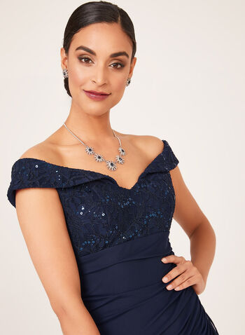 Side Drape Off The Shoulder Dress, Blue, hi-res