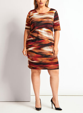 Stripe Print Tiered Jersey Dress, Brown, hi-res