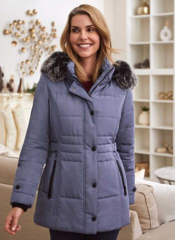 Vegan Down Quilted Coat, Blue,  fall winter 2020, coat, jacket, winter, vegan down, quilted, laura exclusive, hood, removable, faux fur, water repellent, waterproof, iridescent, warm, cruelty free, machine washable