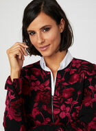 Floral Print Cropped Jacket, Black, hi-res