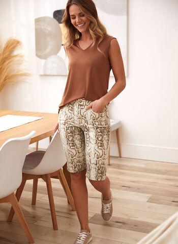 Snake Print Denim Shorts, Off White,  spring summer 2021, made in Canada, shorts, denim, jean, bermuda, high rise, slim leg, 5 pockets, stretch denim, snake print, snakeskin