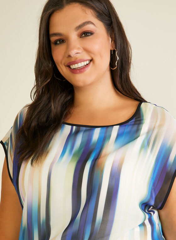 Abstract Print Short Sleeve Blouse, White