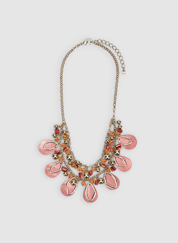 Bead Detail Bib Necklace, Orange, hi-res