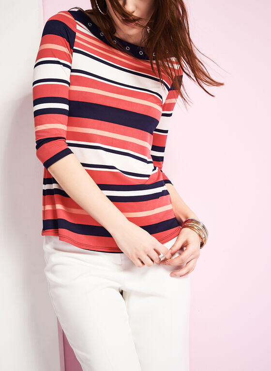 3/4 Sleeve Stripe Print Top , Blue, hi-res