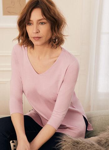 T-shirt long en modal et coton, Violet,  t-shirt, col v, manches 3/4, coton, modal, long, printemps été 2020