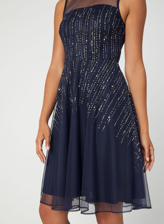 Sleeveless Glitter Mesh Dress, Blue, hi-res