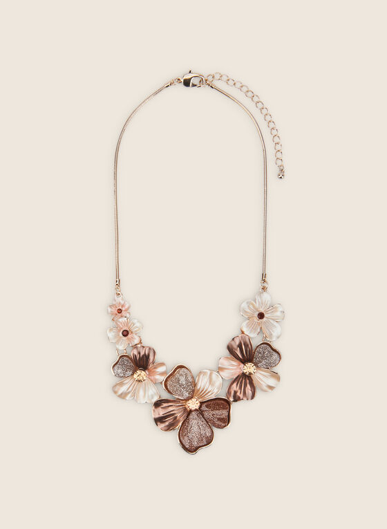 Resin Flower Necklace, Brown