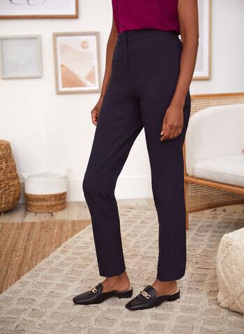 Pantalon coupe cité à jambe droite, Bleu,  taille mi-haute, ceinture contour, extensible, printemps été 2021