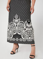 Tribal Print Maxi Dress, Black, hi-res