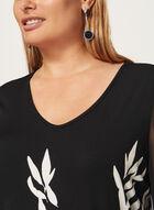 Tunique à motif feuille et manches ¾, Noir, hi-res