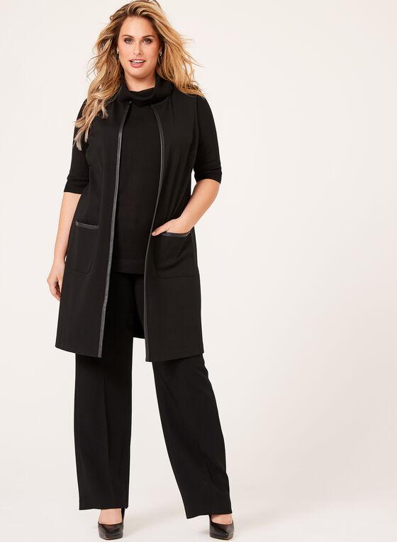 Pull tricot à manches coude et col roulé, Noir, hi-res