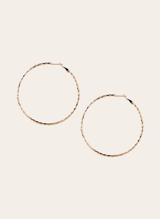 Boucles d'oreilles créoles texturée, Or, hi-res