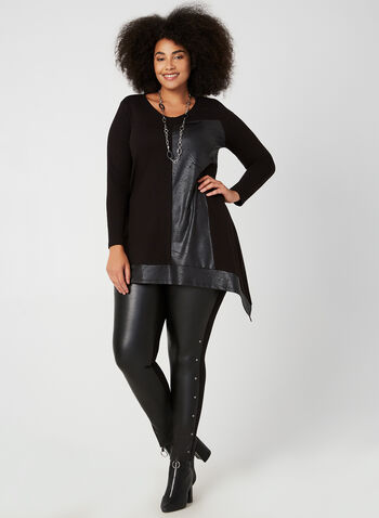 Compli K - Faux Leather Block Top, Black, hi-res,  tunic, leather, asymmetric hemline, long sleeves, fall 2019, winter 2019