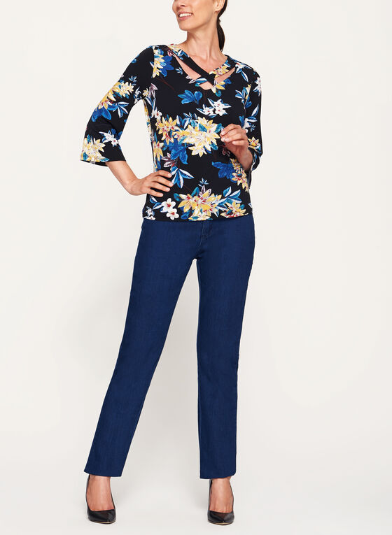 Jersey Floral Print ¾ Bell Sleeve Top , Black, hi-res