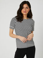 Stripe Print T-Shirt, Black, hi-res