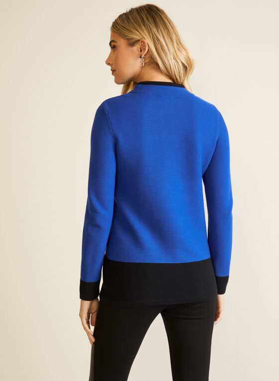 Two Tone Colour Block Pullover, Blue