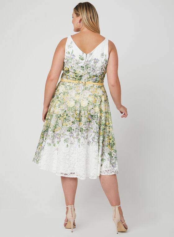 Robe en dentelle fleurie et ceinture, Vert, hi-res