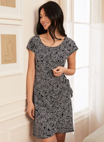 Floral Print Dress, Blue,  Spring summer 2021, flower, flowery, print, dress, sarong, knot detail, boat neck, tulip hem