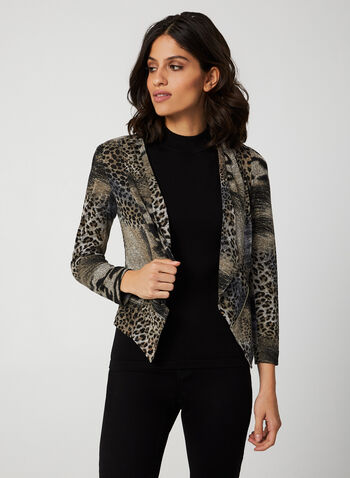 Vex - Animal Print Long Sleeve Top, Brown, hi-res,  vex, long sleeves, open front, animal print, knit, zipper trim, fall 2019