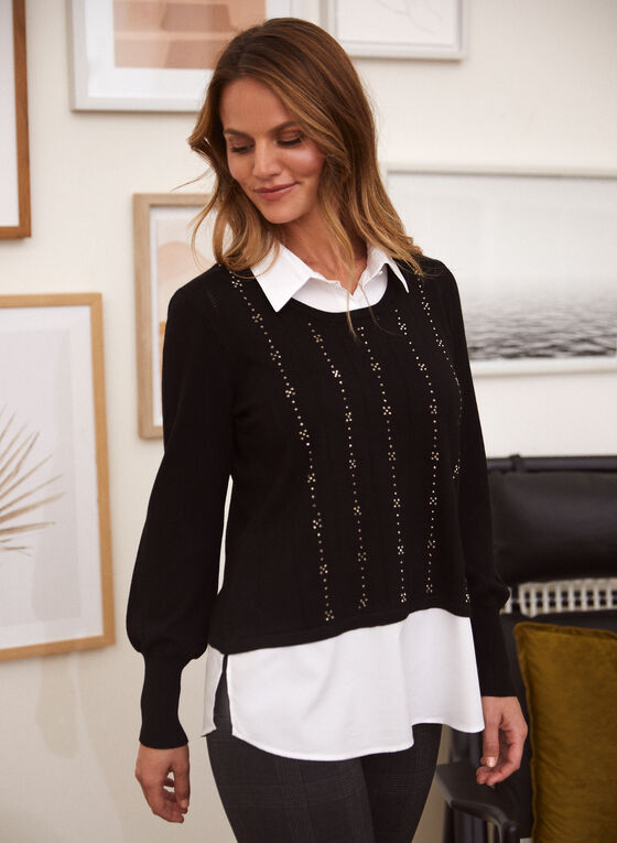 Long Sleeve Fooler Sweater, Black
