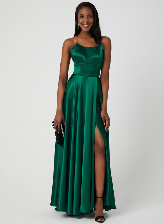 Satin Charmeuse Gown, Green, hi-res