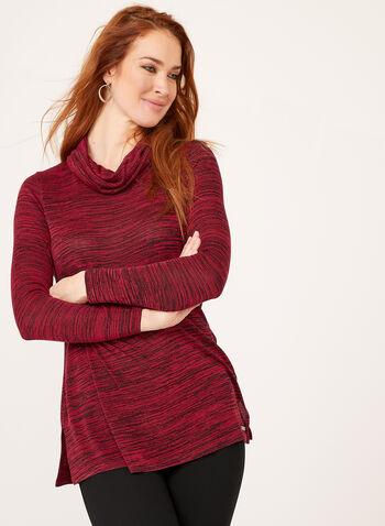 Heather Print Cowl Nec Tunic , Red, hi-res