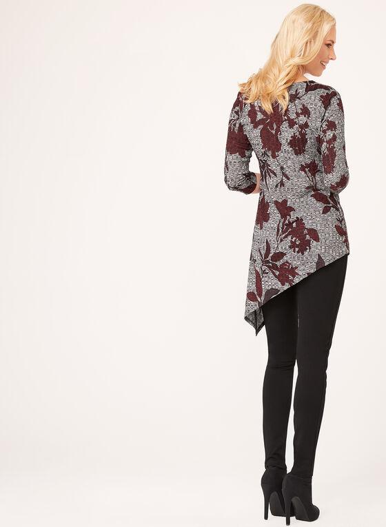 Tunique asymétrique à fleurs en tricot , Rouge, hi-res