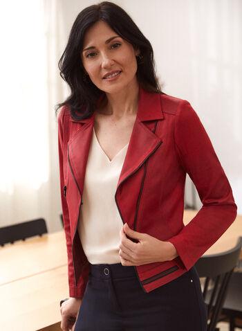 Vex - Blazer en faux cuir suédé, Rouge,  cardigan, rayé, tricot, bouton, manches 3/4, automne hiver 2020