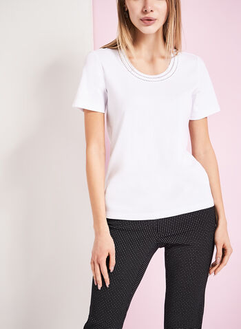 Pointelle Trim Scoop Neck T-Shirt, White, hi-res