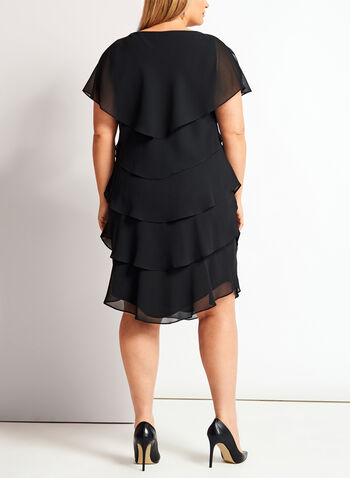 Flutter Sleeve Tiered Dress, , hi-res