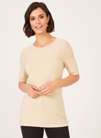 Ottoman Knit Elbow Sleeve Sweater, Off White, hi-res