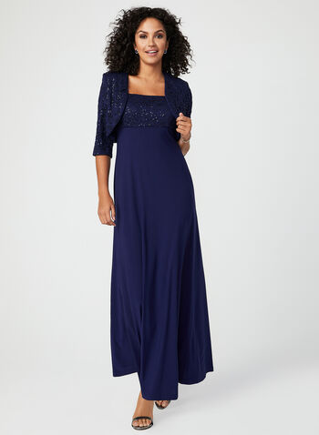 Sequin Embellished Dress & Bolero Set, Blue, hi-res