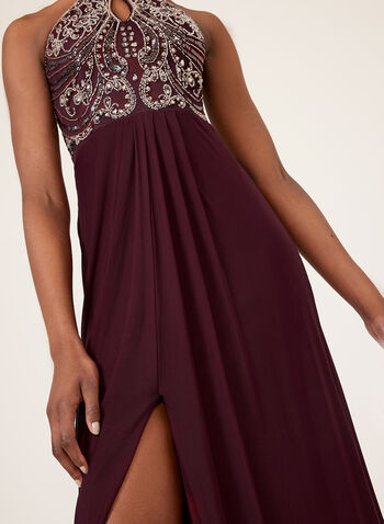 Beaded Lace Up Detail Dress , Red, hi-res