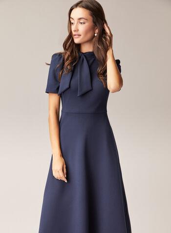 Maggy London - Short Sleeve Tie Neck Dress, Blue,  day dress, tie neck, short sleeves, crepe, fit & flare, fall winter 2020