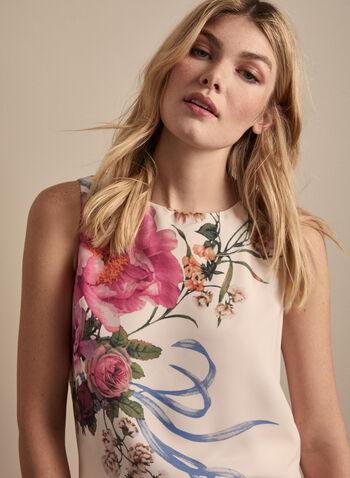 Blouse fleurie sans manches, Blanc,  blouse, sans manches, fleurs, ajour, crêpe, printemps été 2020