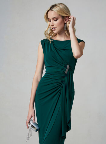 Maggy London - Ruched Jersey Dress, Green,  Maggy London, dress, jersey, extended shoulders, ruching, V-back, midi, fall 2019, winter 2019