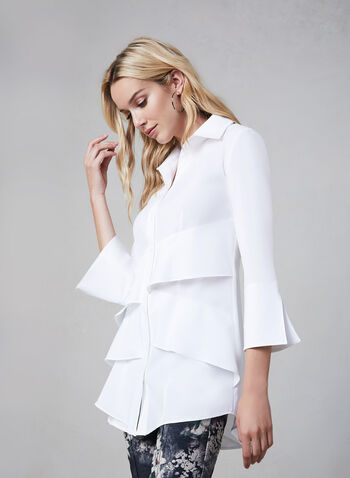 Joseph Ribkoff –3/4 Sleeve Tiered Shirt, White, hi-res,  shirt, long blouse, tunic blouse
