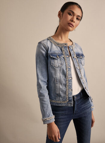 Buttoned Denim Jacket, Blue,  jean jacket, jean, denim, denim jacket, chanel, spring 2020, summer 2020