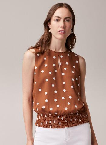 Dotted Print Smocked Hem Blouse, Brown,  blouse, sleeveless, polka dot, scoop neck, smocked, keyhole, spring summer 2020