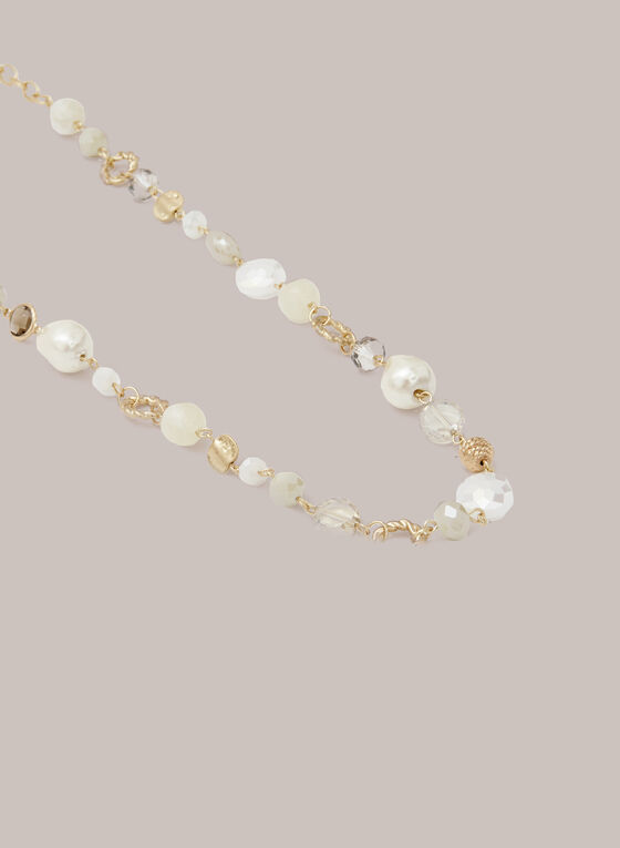 Long Pearl & Stone Necklace, Off White
